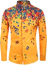 Mens Hipster Printed Slim Fit Long Sleeve Dress Shirts/Prom Performing, LIM&ShopMusical Note Pattern Button Up Top