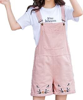 Girls Overall Shorts Kawaii Cat Embroidery Casual Shortalls