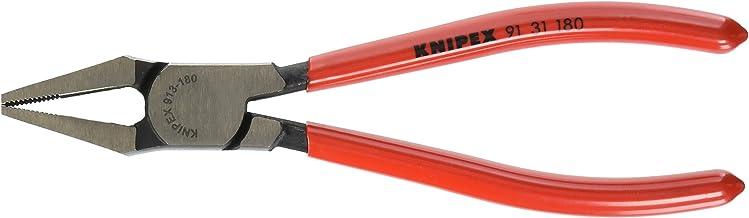 Knipex 91 31 180 Glass Breaking Pincer Black Atramentized Plastic Coated, 180 mm
