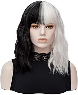 Black and White Wig Short Wavy Shoulder Length Women Full Bang Heat Resistant Wig (Black and White)