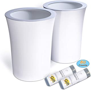 Trash Can White Small Waste Basket 2.6 Gallon Hide Trash Bag, Office Bath Bedroom Kitchen Garbage Can Eco-Friendly for Restroom Deskside Round, 2 Pack (60 Counts Drawstring Trash Bags Included)