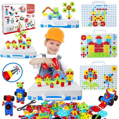 STEM Spielzeug für Mädchen und Jungen, 232 Kinder Bohrer Bausteine DIY Pädagogische Bautechnik Spielzeug Kreative Mosaik Elektrobohrer Set Geschenke Geeignet für Jungen und Mädchen Alter 3-8