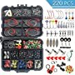 HETH 220 Pcs Fishing Tackle Kit, Fishing Terminal Tackle Set Included Fishing Hooks, Swivels, Connector, Weights, Fishing Space Bean, Luminous Gourds, Suitable for Freshwater & Saltwater Fishing