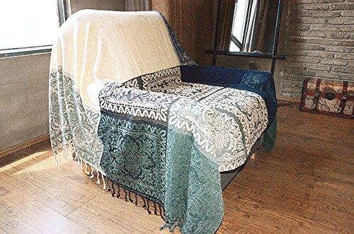 Sofaüberwurf, Möbelschutzdecke aus Chenille-Jacquard mit Fransen, mediterraner Stil, Decke für alle Jahreszeiten, Blue White Mediterranean, 220*260CM