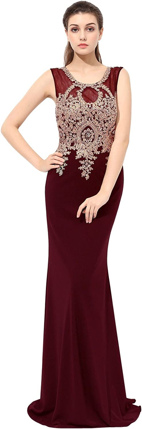Belle House Women's Sheer Neck Long Prom Dress Mermaid Evening Ball Gown Beaded Lace Appliqued Party Dress