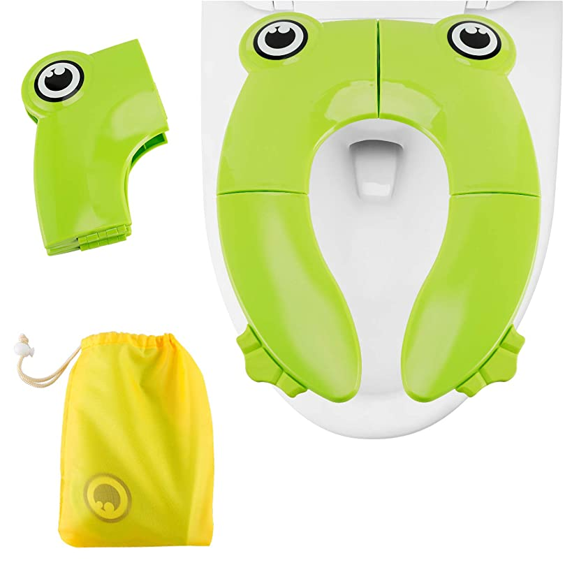 Travel Portable Folding Potty Training Toilet Seat Cover, Minkle Non Slip Silicone Pads with Carry Bag for Babies, Toddlers and Kids - Green