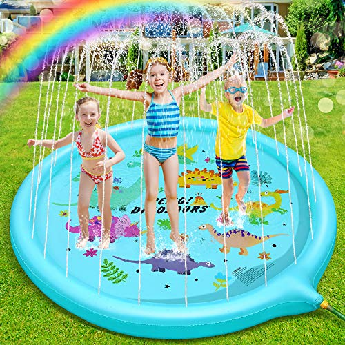 ROYI Sprinkler for Kids, 70''Backyard Splash Play Mat for Babies Toddlers and Boys Girl Summer Party Water Fun Toy Dinosaur Garden Sprinkler Pool for Kids Wading and Learning
