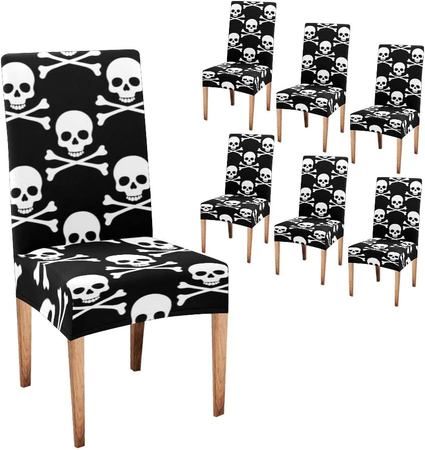 Fashionable Anneunique CUXWEOT Chair Covers security for Skulls Ha Room Dining Custom