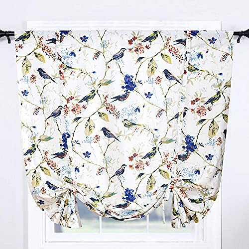 Leeva Balloon Shade Curtains Valances for Kid's Room, Birds Print Semi Blackout Small Drapes Adjustable Curtains for Cafe Studio, 42x63 in, One Panel, Blue