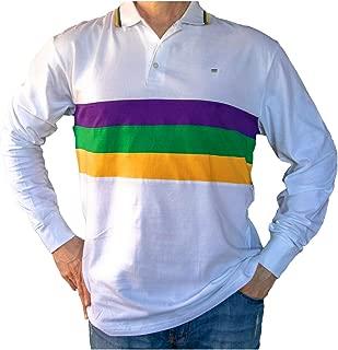 Mardi Gras Long Sleeve White Polo Shirt (Woven Stripes)