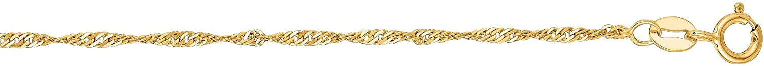 14K Yellow or White Gold 1.50mm Shiny Classic Singapore Chain Necklace for Pendants and Charms with Lobster-Claw Clasp (16