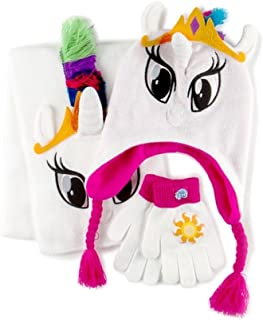 My Little Pony Girl Trapper Hat, Scarf and Gloves Set, Princess Celestia