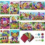 12 Paquetes Kits de Mosaico para Niños, Pegatina Mosaico Kits de Manualidades, DIY Mosaico...