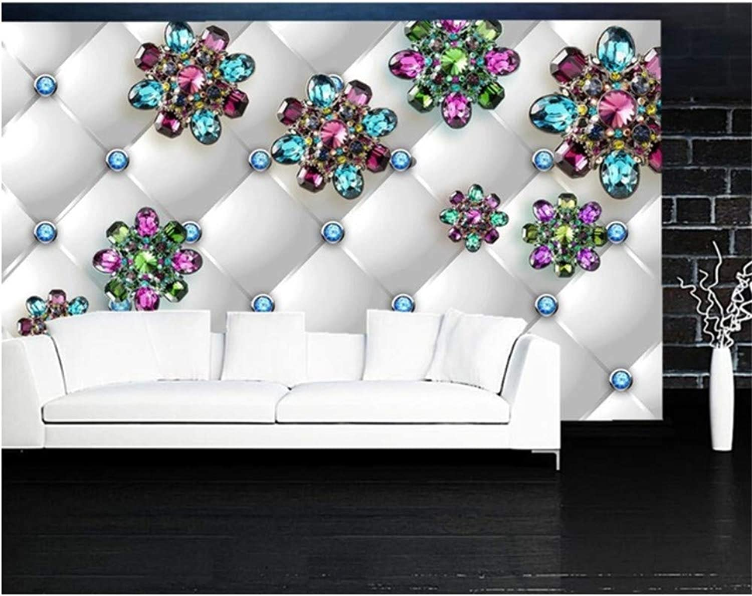 Xbwy Papel De Parojoe Crystal Flower Diamond Jewelry 3D Wallpaper Murals,Living Room Tv Sofa Wall Bedroom Wall Papers Home Decor-200X140Cm