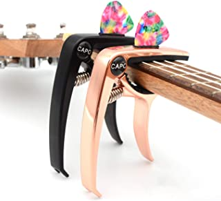 Capo Guitar Capo Rose Gold Capo Black Capo 2 Pack 3in1 Zinc Metal Capo for 6 & 12 String Acoustic Electric Classical Bass ...