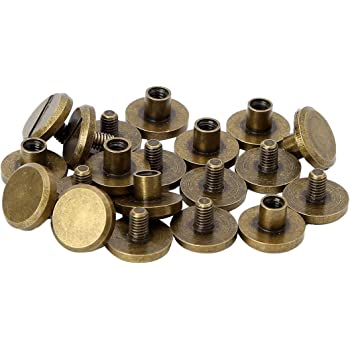 10Pcs Flat Head Metal Screw Studs Nail Rivets Tacks Button for Leather Craft USA