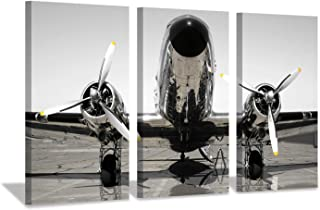 Aircraft Propeller Canvas Wall Art: Retro Airplane Photographic Print for Men Rooms or Office Decoration (26'' x 16'' x 3 Panels)