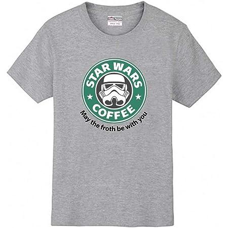 〔ELEEJE〕 スタウォーズ スターバックス コラボ Tシャツ STAR WARS COFFEE STAR BUCKS おもしろ パロディ 〔めいめい屋オリジナル〕 (S, グレー)