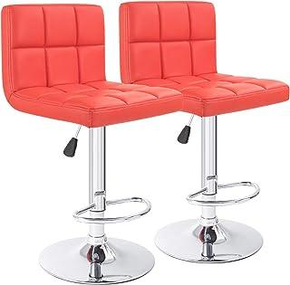 Furmax Bar Stools Modern Pu Leather Swivel Adjustable Hydraulic Bar Stool Square Counter Height Stool Set