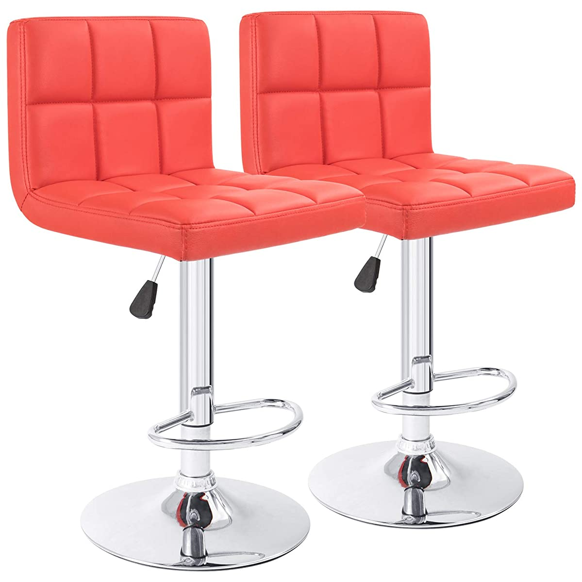 Furmax Bar Stools Red Modern Pu Leather Swivel Adjustable Hydraulic Bar Stool Square Counter Height Stool Set of 2(Red)