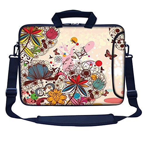 Meffort Inc 15 15.6 inch Neoprene Laptop Bag Sleeve with Extra Side Pocket, Soft Carrying Handle & Removable Shoulder Strap for 14' to 15.6' Size Notebook Computer (Colorful Flower Butterfly)
