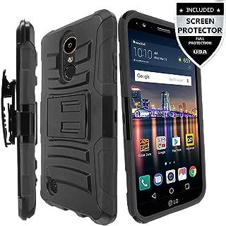 IDEA LINE LG K20 Plus Case/LG K20 V Case/LG Harmony Case/LG K20 Case/LG Grace Case with Screen Protector, Armor Shock Proof Dual Layer Combo Holster Kickstand Belt Clip - Black