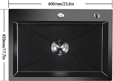 Fregadero de un solo tazón de acero inoxidable Nano espesamiento negro, con accesorios de colador Cesta de drenaje Fregadero