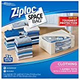 Ziploc Space Bag Clothes Vacuum Sealer Storage Bags for Home and Closet Organization, Protects from Moisture, Dust and Pests, Pack of 5 (L, Jumbo), Clear