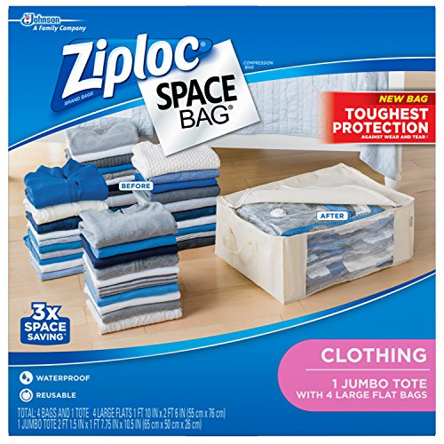 Ziploc Space Bag Clothes Vacuum Sealer Storage Bags for Home and Closet Organization, Protects from Moisture, Dust and Pests, Pack of 5 (L, Jumbo)
