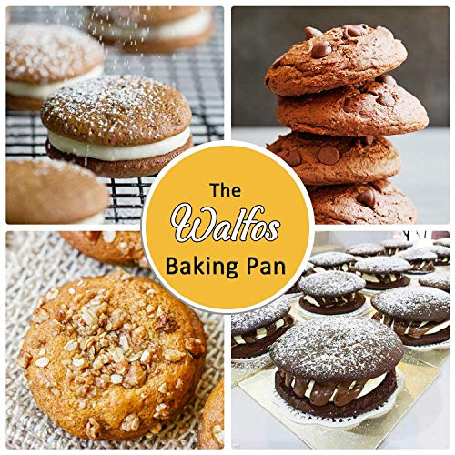 Walfos Silicone Whoopie Pie Baking Pans, 2 Pcs Non-Stick Muffin Top Pan. Food Grade and BPA Free Silicone, Great for Muffin, Eggs, Tarts and More, Dishwasher Safe