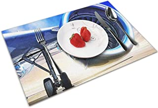 POQQ Placemats for Dining Table Jet Engine 3, Washable Easy to Clean PVC Placemat, Heat Resistand Kitchen Dinner Table Mats 12x18 Inches Set of 4