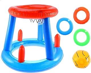 LIOOBO Canasta Hinchable Canasta Flotante Juguete de Baloncesto Jueguete de Arena Playa Piscina Juego Favor para Fiesta de Verano (Azul)