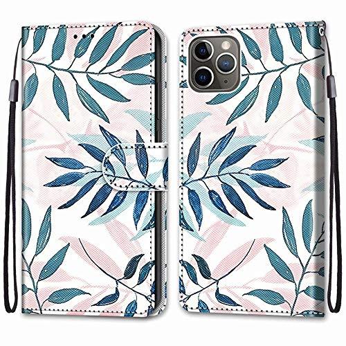 """Nadoli Handyhülle Leder für iPhone 12 Pro Max 6.7"""",Bunt Bemalt Rosa Grün Blätter Trageschlaufe Kartenfach Magnet Ständer Schutzhülle Brieftasche Ledertasche Tasche Etui"""