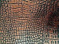 [在庫処分]ワニ革 合皮レザー生地【リッチクロコダイル ブロンズ】130×20cm