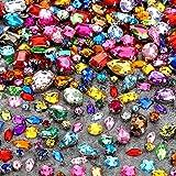 320 Pezzi Cristalli di Vetro Strass da Cucire Cristalli Gemme Acriliche con Foro Argento Puntata Piatto Schiena Artiglio Forma Misto Taglia Misto per Fai Da Te Vestito Abiti Borsa Decorazioni