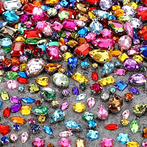WILLBOND 320 Stücke Nähen auf Strass Glas Kristalle Acryl Edelsteine mit Loch Silber Prong Einstellung Flatback Klaue Mix Form Mix Größe für DIY Handwerk Kleid Kleidung Schuhe Tasche Dekorationen