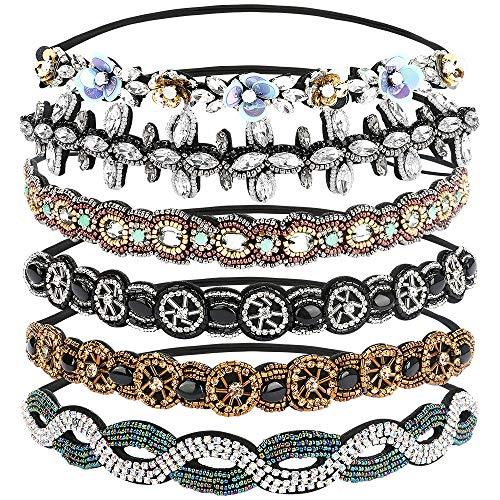 BestFire 6Pcs Rhinestone Headbands for Women, Fashionable Handmade Diamond Elastic Headbands, Crystal Beaded Elastic Hairband for Girls Lady Vintage Jewelry Hair Accessories 20-26.8' (Multicolor)