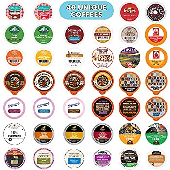 Coffee Pods Variety Pack Sampler Assorted Single Serve Coffee for Keurig K Cups Coffee Makers 40 Unique Cups
