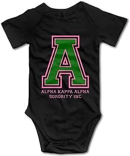 Alpha Kappa Alpha AKA Infant Bodysuit Cotton Onesies Short Sleeve Rompers for Baby Boys Girls Black