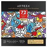 Livre de coloriage Arteza pour adultes, motifs de gribouillis, 72 feuilles, 100 lb, 16.3x16.3 cm, pour l'anxiété, le soulagement du stress et la détente, pages détachables