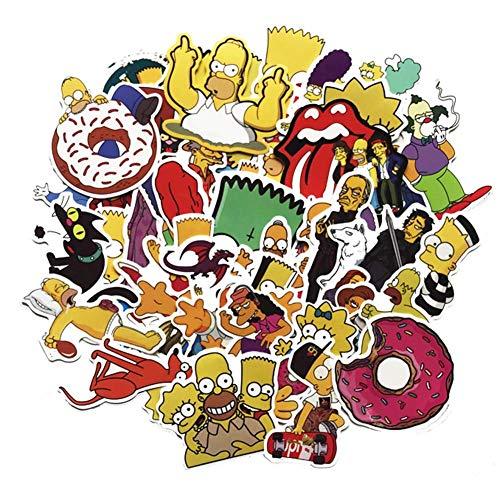 Zhenzhiao The Simpsons Sticker, Aufkleber für Gepäck Laptop Skateboard Moto Fahrrad Auto Wasserfest Sticker 50 Stk/Packung - 50pcs
