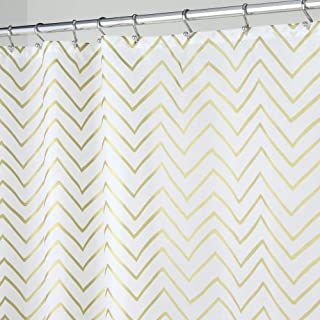 MDesign Long Decorative Metallic Pattern Water Repellent Fabric Shower Curtain For Bathroom Showers And
