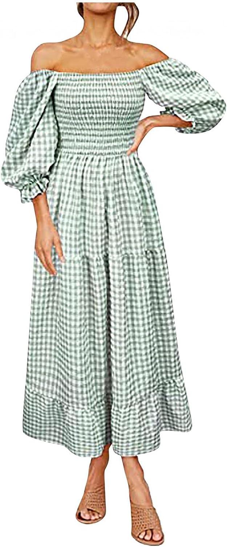 Aniywn Women's Midi Dress Lantern Sleeves Ruffled Off Shoulder A-Line Midi Dresses Boho Flowy Casual Plaid Midi Long Dress