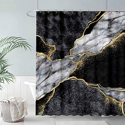 """FULLSAIL Black and White Marble Texture Shower Curtain Set Gold Abstract Art Pattern Bathroom Bathtubs Decor with 12 Hooks Easy Care Waterproof with Washable Durable Polyester Fabric 72""""x72"""""""