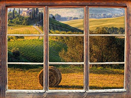 Stil.Zeit Möbel Italienische Toskana Landschaft Fenster 3D-Wandsticker Format: 92x62cm Wanddekoration 3D-Wandaufkleber Wandtattoo