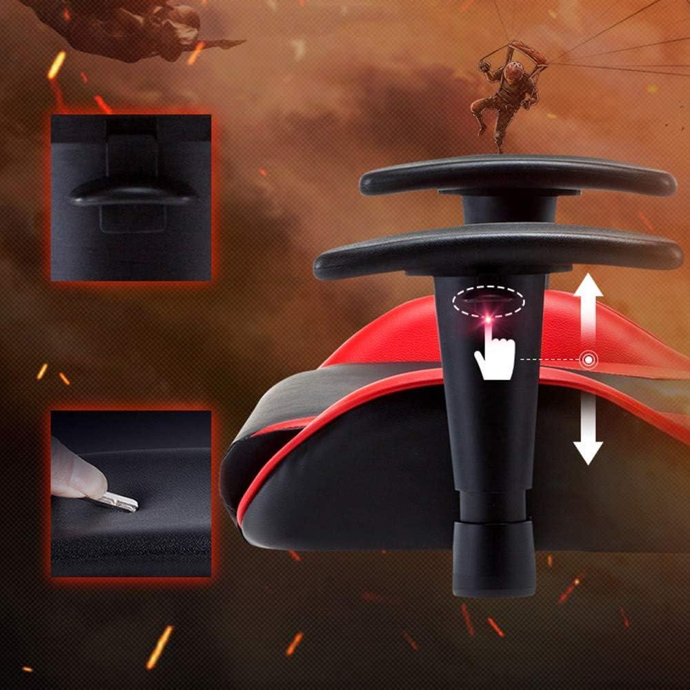 THBEIBEI Chaise Ordinateur Chaise de Bureau Ordinateur Respirant PU Cuir Propre Dossier Poids Maximum Nylon Cadre Cuir (Color : Black Red) Black And White