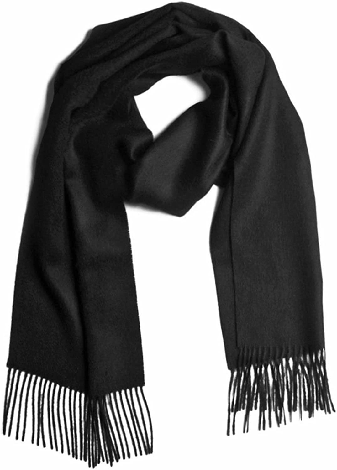 100% Pure Baby Alpaca Scarf, Solid Natural Dyefree colors (Black)