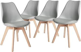 FurnitureR Juego de 4 Patas de Madera Maciza Natural Eames Chair, diseño Elegante y Acolchado sin Brazo Gris