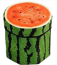 Sanjis enterprises Fruit Design Multipurpose Foldable Velvet Storage Seat Box Organizer Cum Stool (Random Colour)