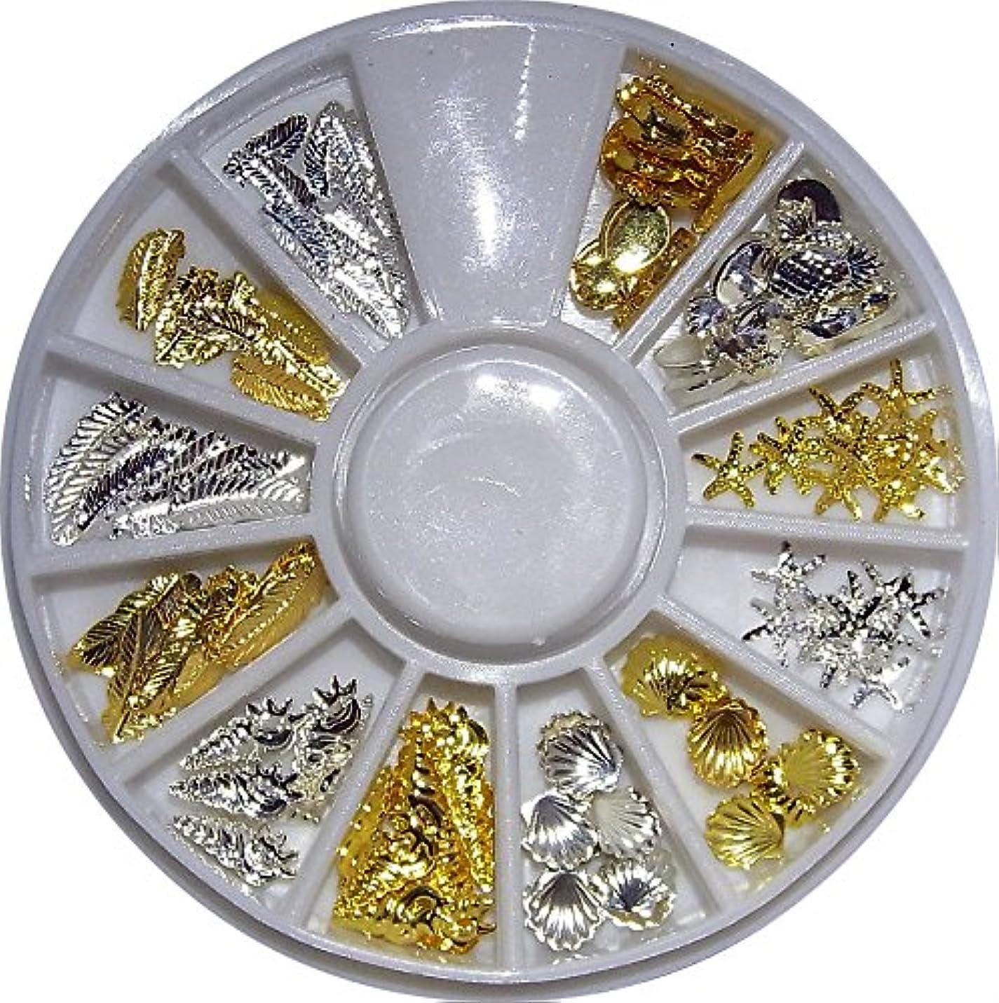コンデンサー比率不健康【jewel】hk9 マリンパーツ ゴールド&シルバー サマーネイル レジン用メタルパーツ 各種10個入り